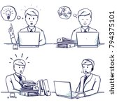 set of business man cartoon... | Shutterstock .eps vector #794375101