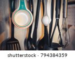 kitchen utensils hanging