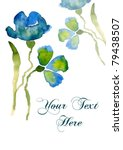 Nice watercolor blue flower with copy-space for your text - stock photo