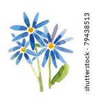 Blue flowers- handmade painting - stock photo