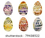 Easter Eggs handmade painting - stock photo