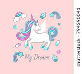 white cute unicorn with... | Shutterstock .eps vector #794390041