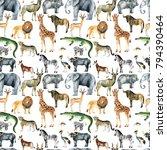 wild animals  giraffe  elephant ...   Shutterstock . vector #794390464