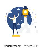 vector illustration rocket... | Shutterstock .eps vector #794393641