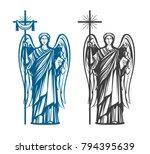 angel  archangel with wings.... | Shutterstock .eps vector #794395639