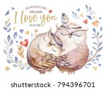Stock photo i love you lovely watercolor illustration with sweet owls hearts and flowers in awesome colors 794396701
