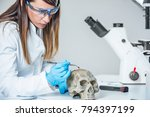 forensic scientist examining...   Shutterstock . vector #794397199