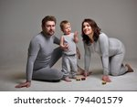 parents and child in the studio ... | Shutterstock . vector #794401579