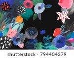 Stock photo creative hand drawn flowers painted art background 794404279