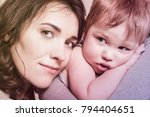 mother and child. gentle and... | Shutterstock . vector #794404651