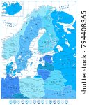 northern europe map in colors... | Shutterstock .eps vector #794408365