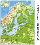 northern europe physical map.... | Shutterstock .eps vector #794408371