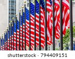 usa flags waving in the wind | Shutterstock . vector #794409151