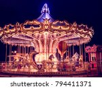 Beautiful bright carousel in...