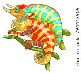 the couple chameleon male woman ... | Shutterstock .eps vector #794413909