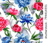 wildflower red and blue peonies ...   Shutterstock . vector #794414551