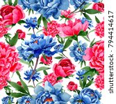 wildflower red and blue peonies ...   Shutterstock . vector #794414617