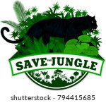 vector jungle emblem with black ... | Shutterstock .eps vector #794415685