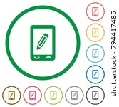 mobile memo flat color icons in ... | Shutterstock .eps vector #794417485
