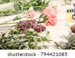 master class on making bouquets.... | Shutterstock . vector #794421085