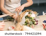 master class on making bouquets....   Shutterstock . vector #794421094