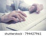 business woman using computer... | Shutterstock . vector #794427961