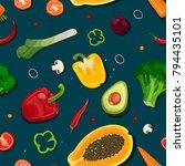 pattern from vegetables ... | Shutterstock .eps vector #794435101