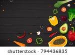 frame of vegetables. peppers ... | Shutterstock .eps vector #794436835