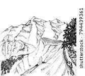mountains sketch  engraving... | Shutterstock .eps vector #794439361