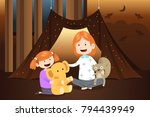 a vector illustration of mother ... | Shutterstock .eps vector #794439949