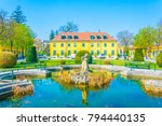 a yellow pavillion in the... | Shutterstock . vector #794440135
