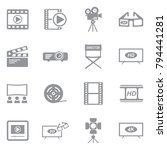 movie icons. gray flat design.... | Shutterstock .eps vector #794441281