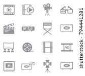 movie icons. gray flat design.... | Shutterstock .eps vector #794441281