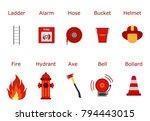 fire fighter equipment. flat...   Shutterstock .eps vector #794443015