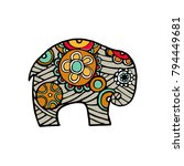 indian elephant in traditional... | Shutterstock .eps vector #794449681