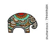 indian elephant in traditional... | Shutterstock .eps vector #794449684