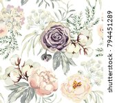 Stock vector bouquets with violet roses and pink peonies with gray leaves on the white background watercolor 794451289