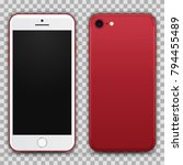 realistic red smartphone with... | Shutterstock .eps vector #794455489