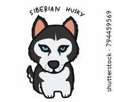 siberian husky dog cartoon... | Shutterstock .eps vector #794459569