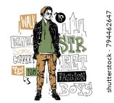 banner with stylish boy in... | Shutterstock .eps vector #794462647