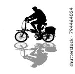 silhouette man and bike... | Shutterstock . vector #794464024
