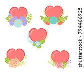 collection hearts with floral... | Shutterstock .eps vector #794466925