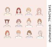various hair style girls bust... | Shutterstock .eps vector #794471641