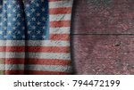 usa flag on a wood background... | Shutterstock . vector #794472199