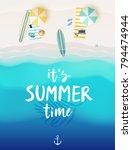 tropical beach poster. vector... | Shutterstock .eps vector #794474944