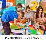 school children with scissors... | Shutterstock . vector #794476099