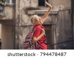senior lady traveling abroad ... | Shutterstock . vector #794478487