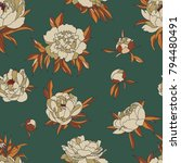 vintage vector pattern with... | Shutterstock .eps vector #794480491