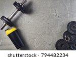 fitness or bodybuilding concept ... | Shutterstock . vector #794482234