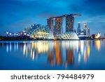 singapore city skyline at dusk  ...   Shutterstock . vector #794484979